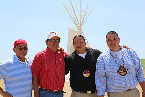 Lakota Elders and Executive Director Nick Tilsen (pictured third from left) at the Regenerative Community Groundbreaking.